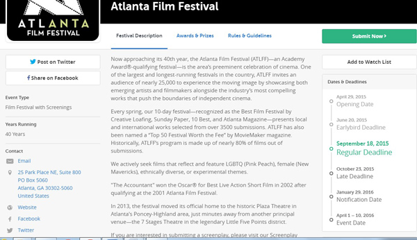 Screenshot Of Filmfreeway Dashboard