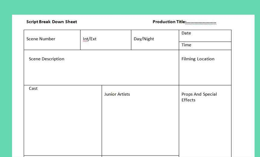 the script breakdown sheet is essential for filmmakers you know